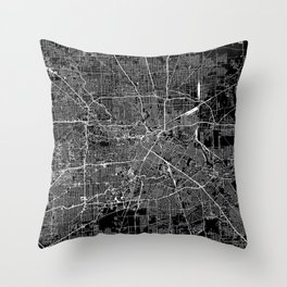 Houston Black Map Throw Pillow