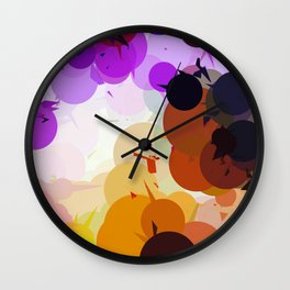 geometric circle and triangle pattern abstract in purple brown blue Wall Clock