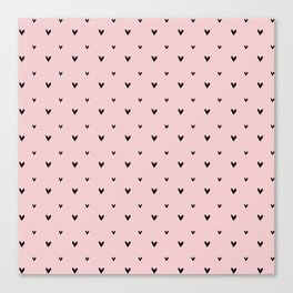 Small sketchy black hearts pattern on pink background Canvas Print