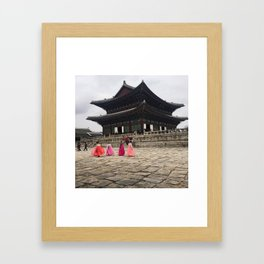 Girls in a Hanbok at Gyengbokgung Framed Art Print
