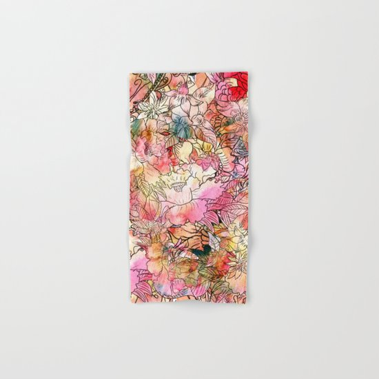 Summer Flowers | Colorful Watercolor Floral Pattern Abstract Sketch Hand & Bath Towel
