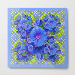 Lime-Blue Morning Glories Pattern Art Metal Print