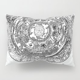 An Island Mandala - PEI, Canada - Original Colors - Black on White Pillow Sham