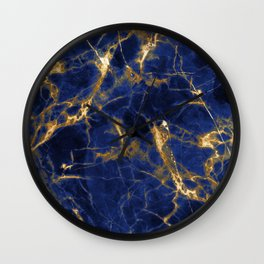 Blue Majestic Marble With 24-Karat Gold Hue Veins Wall Clock