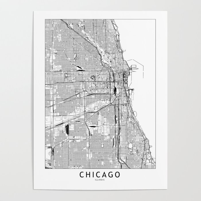 Chicago White Map Poster by multiplicity | Society6 on