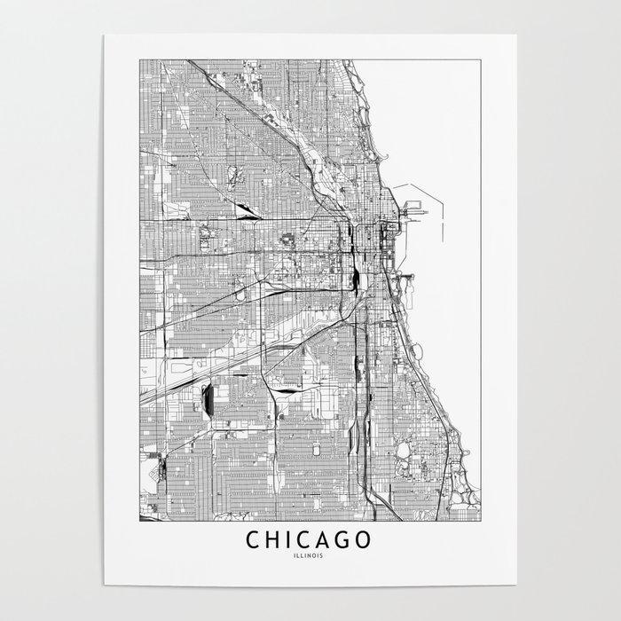 Chicago White Map Poster