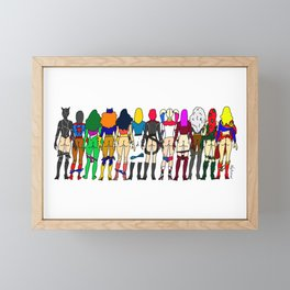Superhero Butts - Girls - Row Version - Superheroine Framed Mini Art Print