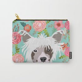 Chinese Crested floral dog breed pattern cute dog gifts for dog lovers Carry-All Pouch