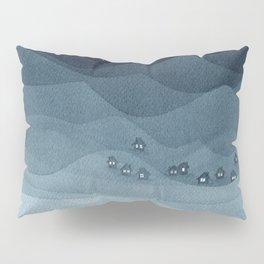 Moon over the mountains, landscape, indigo night Pillow Sham