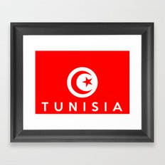 Tunisia country flag name text Framed Art Print