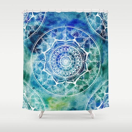 White Circle Mandala On Blue Watercolour Shower Curtain By