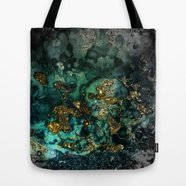 Gold Indigo Malachite Marble Tote Bag