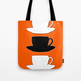 Retro Coffee Print - Black & White Cups on Burnished Orange Background Tote Bag