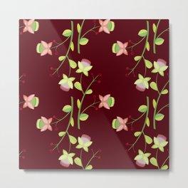 Red floral pattern Metal Print