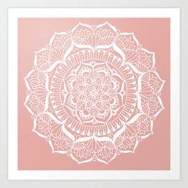 White Flower Mandala on Rose Gold Art Print