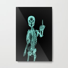 X-ray Bird / X-rayed skeleton demonstrating international hand gesture Metal Print