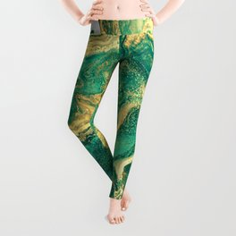 M A R B L E - emerald & brass Leggings