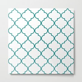 Quatrefoil - Teal on White - larger Metal Print