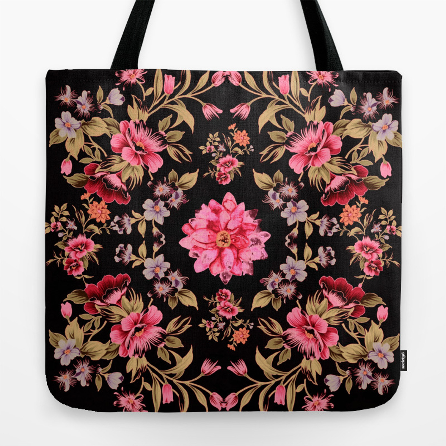 Pink Folk Floral On Black Background Tote Bag By Clemm Society6