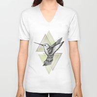 hummingbird V-neck T-shirts featuring Hummingbird by Barlena