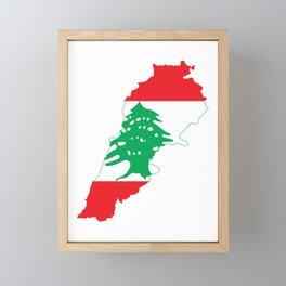 Lebanon Flag Map  Framed Mini Art Print