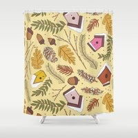 70s Shower Curtains featuring 70s Woodland by Aron Gelineau