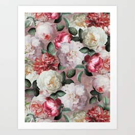 Vintage & Shabby Chic - Jan Davidsz. de Heem Roses On Mauve Art Print