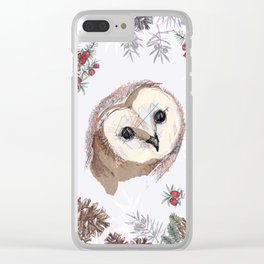 Pine forest owls Clear iPhone Case