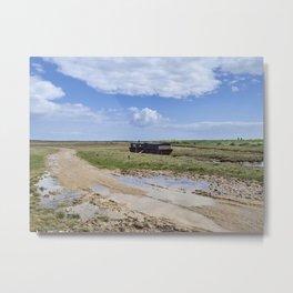 Brancaster Marsh House Boat. Metal Print