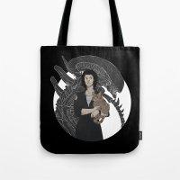 alien Tote Bags featuring Alien by Vaahlkult