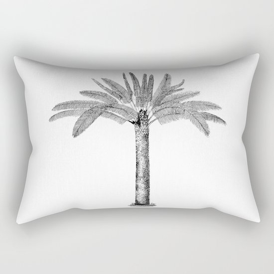 Vintage Palm Tree black and white Rectangular Pillow