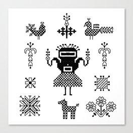 folk embroidery, Collection of flowers, birds, peacocks, horse, man, geometric ornaments, symbols e Canvas Print