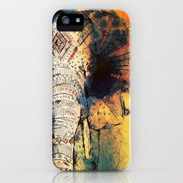 Watercolor elephant & mandala art iPhone Case