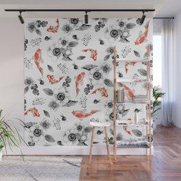 Colorful orange black white watercolor floral koi fish Wall Mural