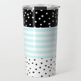 Modern black white teal stripes watercolor polka dots Travel Mug