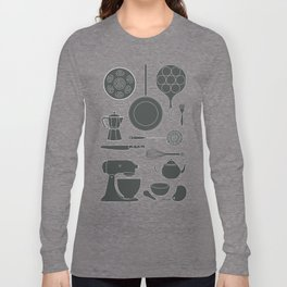 Kitchen Tools (black on white) Long Sleeve T-shirt