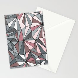 Urban Geometric Pattern on Concrete - Dark grey and pink Stationery Cards
