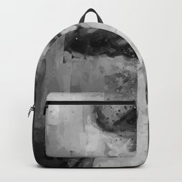 girl smoking cigarette black and white painting - illustration Backpack