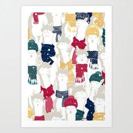 Happy llamas Christmas choir Art Print