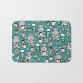 Cute Little Hippo, Lattes and Donuts, Pink and Blue Illustration, Happy Hippopotamus, For Girls Bath Mat