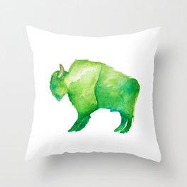 Green Bison Throw Pillow