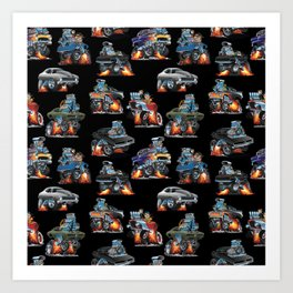 Car Crazy Classic Hot Rod Muscle Cars Cartoons Seamless Pattern Art Print