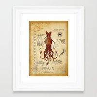 kraken Framed Art Prints featuring Kraken by Laurence Andrew Page Illustrator