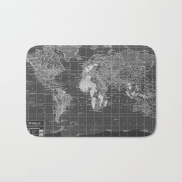 Black and White Vintage World Map Bath Mat
