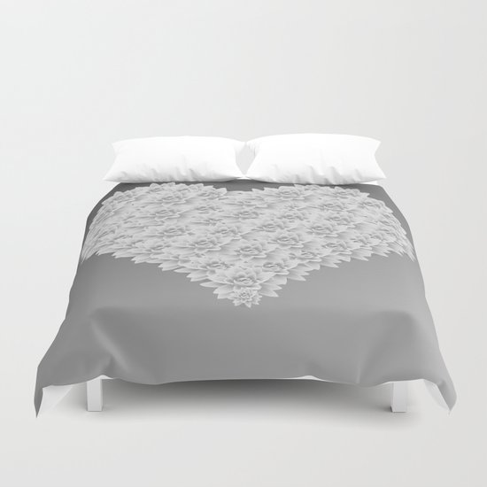 White heart Duvet Cover