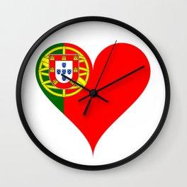 Portugal Heart Flag Wall Clock