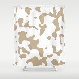 Large Spots - White and Khaki Brown Shower Curtain