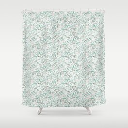 Green Leaves and Red Berries. Shower Curtain