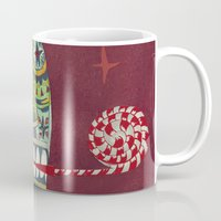 happy birthday Mugs featuring Happy Birthday by Santiago Uceda