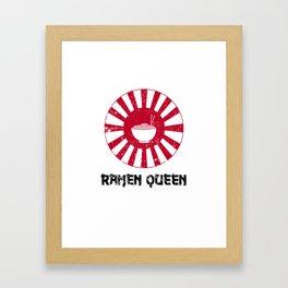 Ramen Queen Japanese Noodles Vintage Retro Style Japan Flag Framed Art Print